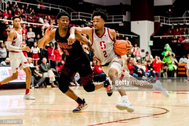 Stanford Cardinal guard Bryce Wills drives for the basket during the men's college basketball game between the USC Trojans and Stanford Cardinal on...