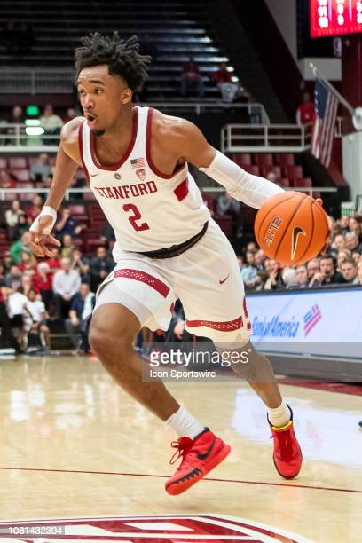 Stanford Cardinal guard Bryce Wills drives the baseline during the college men's basketball game between the Arizona Wildcats and Stanford Cardinal...