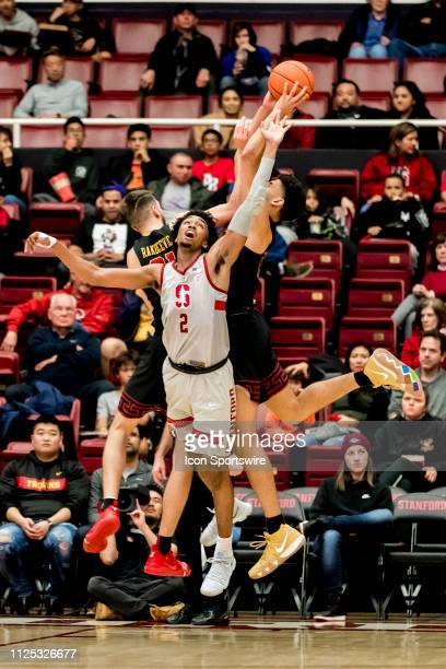 Stanford Cardinal guard Bryce Wills fights for a rebound during the men's college basketball game between the USC Trojans and Stanford Cardinal on...