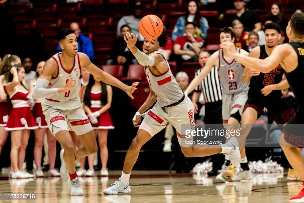 Stanford Cardinal guard Bryce Wills grabs the loose ball during the men's college basketball game between the USC Trojans and Stanford Cardinal on...