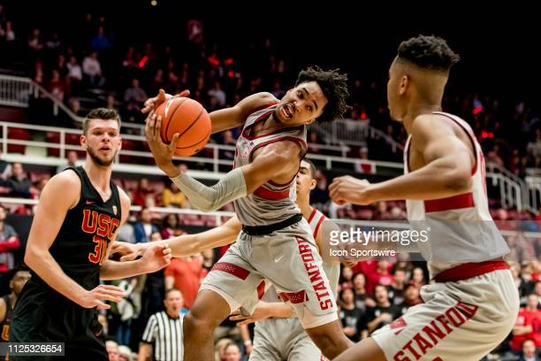 Stanford Cardinal guard Bryce Wills grabs the rebound during the men's college basketball game between the USC Trojans and Stanford Cardinal on...