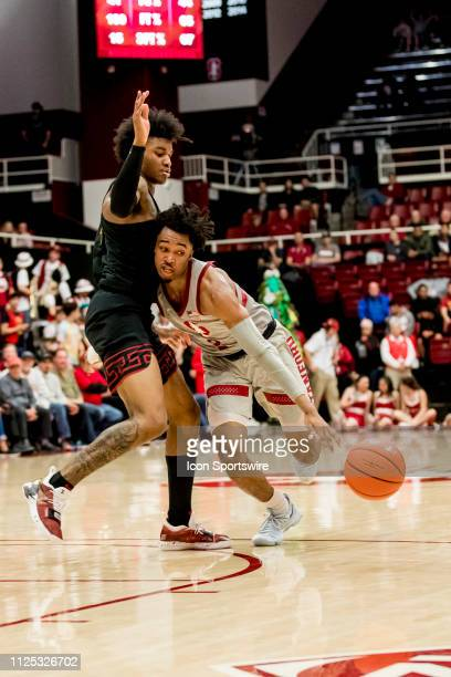 Stanford Cardinal guard Bryce Wills is stopped by the USC defense during the men's college basketball game between the USC Trojans and Stanford...