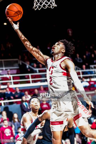 Stanford Cardinal guard Bryce Wills lays in the ball during the men's college basketball game between the USC Trojans and Stanford Cardinal on...