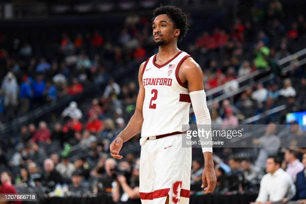 Stanford Cardinal guard Bryce Wills looks on during the first round game of the men's Pac12 Tournament between the Stanford Cardinal and the...