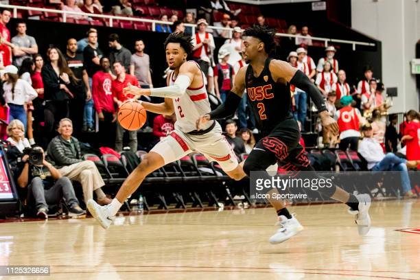 Stanford Cardinal guard Bryce Wills runs around the USC defense during the men's college basketball game between the USC Trojans and Stanford...