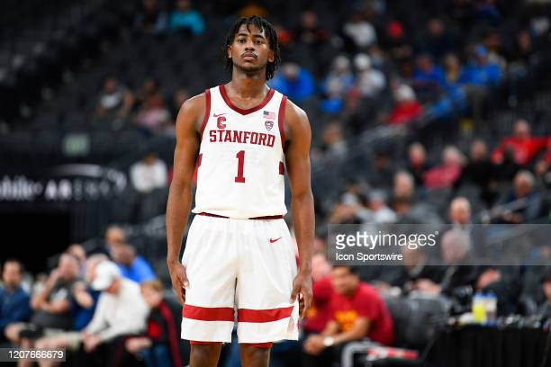 Stanford Cardinal guard Daejon Davis looks on during the first round game of the men's Pac12 Tournament between the Stanford Cardinal and the...