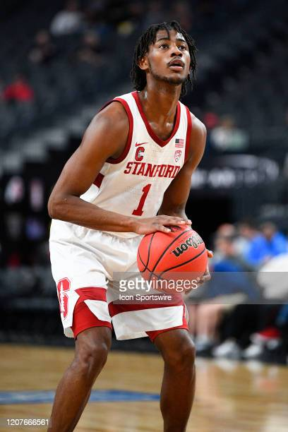 Stanford Cardinal guard Daejon Davis shoots a free throw during the first round game of the men's Pac12 Tournament between the Stanford Cardinal and...