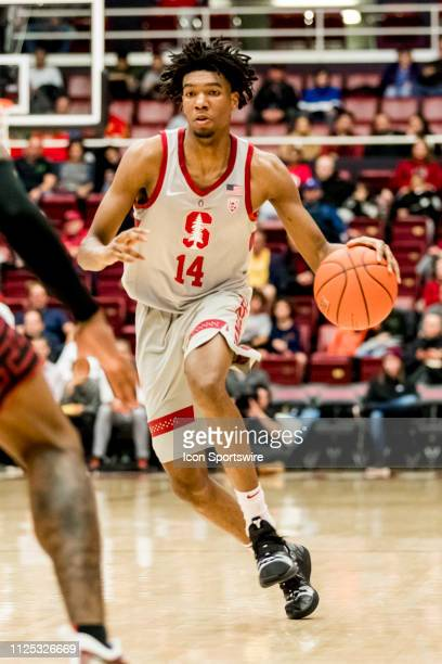 Stanford Cardinal guard Marcus Sheffield brings the ball down the court during the men's college basketball game between the USC Trojans and Stanford...