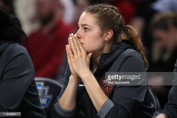 Stanford Cardinal guard Mikaela Brewer looks on in game action during the Women's NCAA Division I Championship Quarterfinals game between the Notre...
