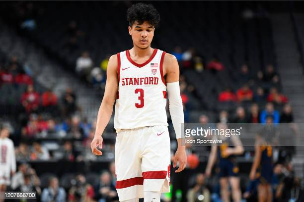 Stanford Cardinal guard Tyrell Terry looks on dejected during the first round game of the men's Pac-12 Tournament between the Stanford Cardinal and...