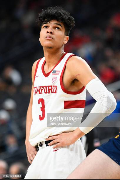 Stanford Cardinal guard Tyrell Terry looks on during the first round game of the men's Pac12 Tournament between the Stanford Cardinal and the...
