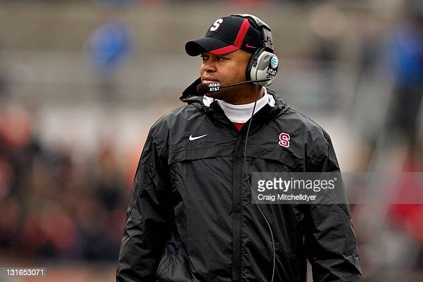Stanford Cardinal head coach David Shaw looks on during a game against the Oregon State Beavers on November 5, 2011 at Reser Stadium in Corvallis,...