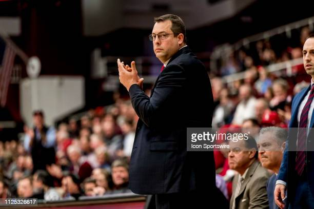 Stanford Cardinal head coach Jerod Haase cheers a good play during the men's college basketball game between the USC Trojans and Stanford Cardinal on...