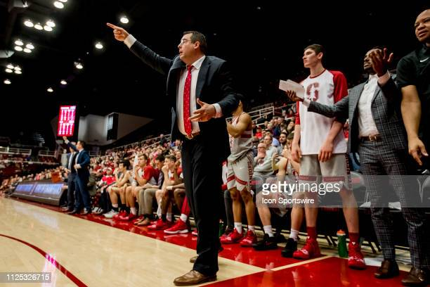 Stanford Cardinal head coach Jerod Haase gives direction during the men's college basketball game between the USC Trojans and Stanford Cardinal on...