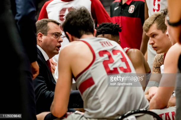Stanford Cardinal head coach Jerod Haase talks to his players at a timeout during the men's college basketball game between the USC Trojans and...