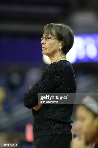 Stanford Cardinal head coach Tara VanDerveer looks on during a PAC12 conference game between the Stanford Cardinal and the Washington Huskies on...