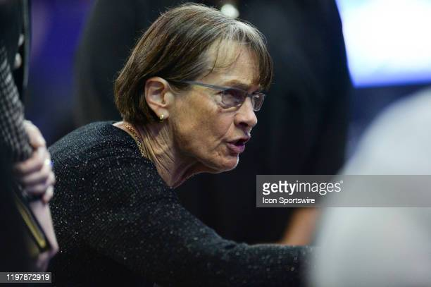 Stanford Cardinal head coach Tara VanDerveer talks to her team during a time out during a PAC12 conference game between the Stanford Cardinal and the...