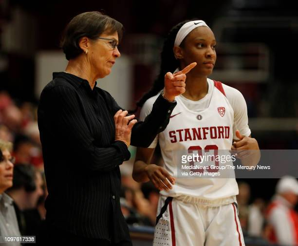 Stanford Cardinal head coach Tara VanDerveer talks to Stanford's Kiana Williams during their game against the Washington State Cougars in the third...