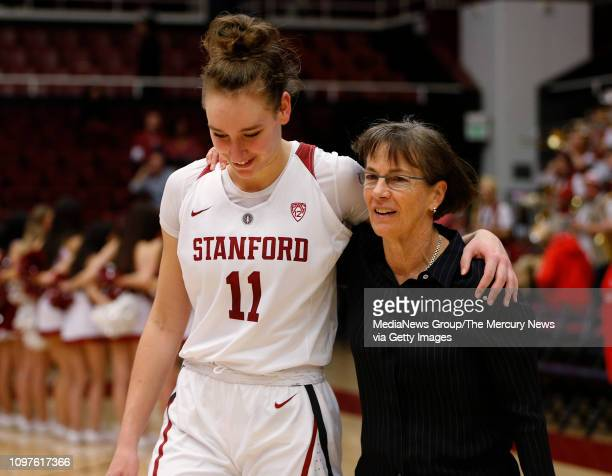 Stanford Cardinal head coach Tara VanDerveer walks off the court with Stanford's Alanna Smith after the Stanford Cardinal's 85-64 win over the...