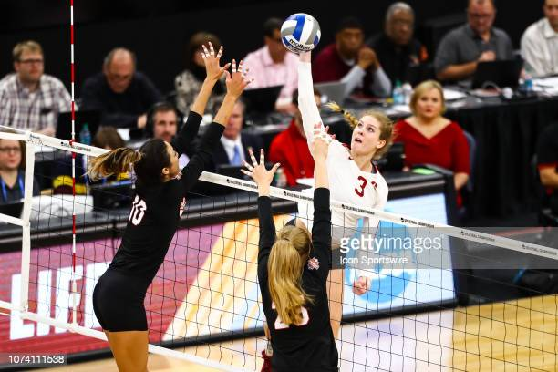 Stanford Cardinal middle blocker Holly Campbell hits the ball in the 2nd set during the match between the Stanford Cardinal and the Nebraska...