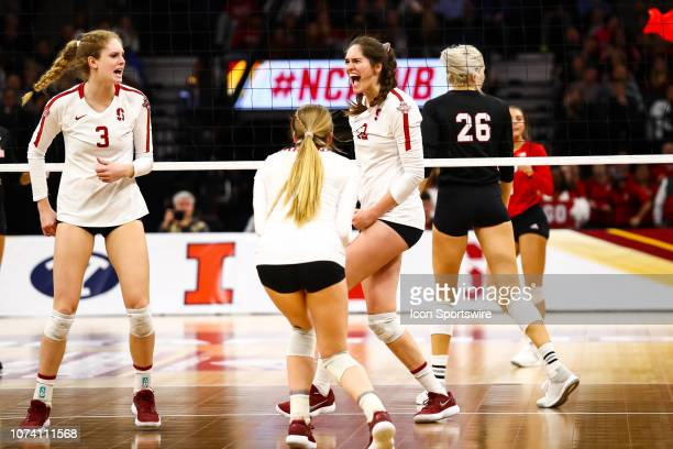 Stanford Cardinal opposite hitter Audriana Fitzmorris right celebrates after scoring a point in the 3rd set during the match between the Stanford...