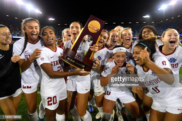 Stanford Cardinal players celebrate their victory against the North Carolina Tar Heels in the Division I Women's Soccer Championship held at Avaya...
