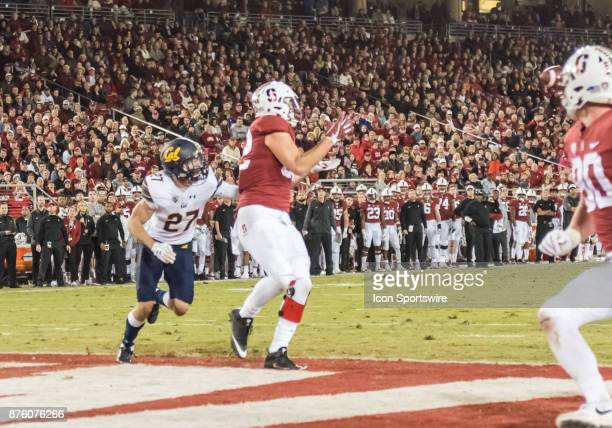 Stanford Cardinal tight end Kaden Smith focuses on the pass from Stanford Cardinal quarterback KJ Costello during the regular season game between the...