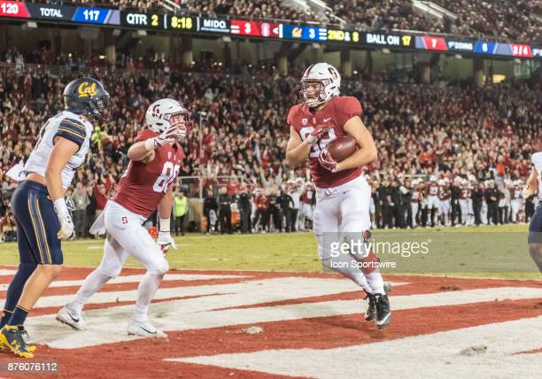 Stanford Cardinal tight end Kaden Smith pulls down a pass from Stanford Cardinal quarterback KJ Costello for a touchdown during the regular season...