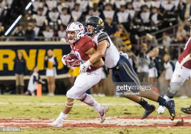 Stanford Cardinal wide receiver JJ ArcegaWhiteside pulls in a pass and immediately gets wrapped up by California Golden Bears linebacker Noah...