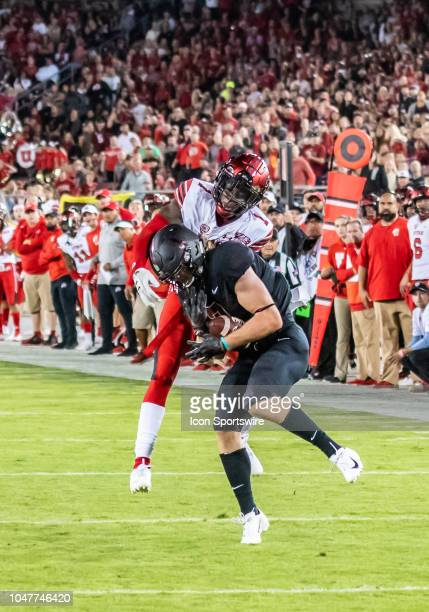 Stanford Cardinal wide receiver Trenton Irwin pulls in the ball and holds on while Utah Utes defensive back Jaylon Johnson tries to break up the play...