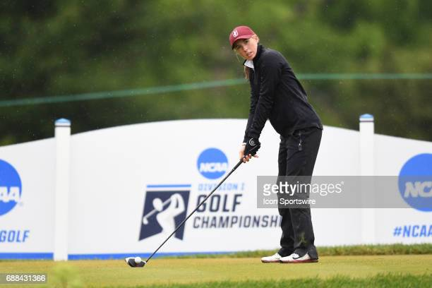 Stanford Cardinal's Casey Danielson tees off at the first hole during the NCAA Division 1 Women's golf championship semifinals on May 23 at Rich...
