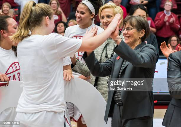 Stanford Cardinal's Head coach Tara Vanderveer and high scorer Stanford Cardinal guard Karlie Samuelson exchange high 5's at the end of the regular...