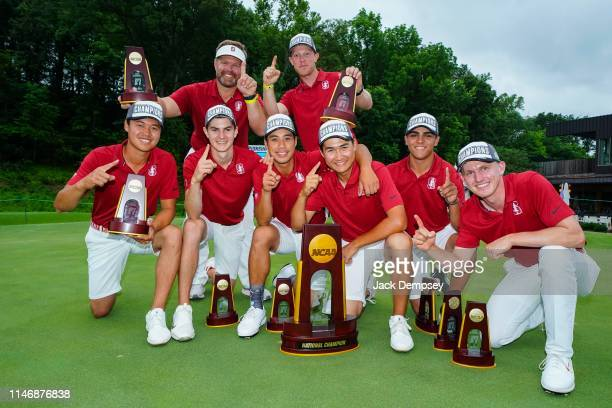 Stanford celebrates a championship win during the Division I Men's Golf Match Play Championship held at the Blessings Golf Club on May 29 2019 in...