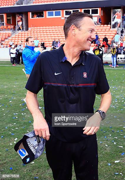 Stanford coach Jeremy Gunn after a soaking from his players after the final of the Men's College Cup on December 11 at BBVA Compass Stadium in...
