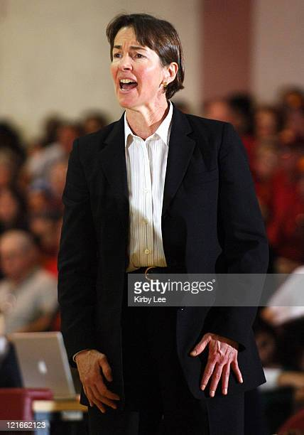 Stanford coach Tara VanDerveer during 7869 victory over USC in Pacific10 Conference women's basketball game at the Lyon Center in Los Angeles Calif...