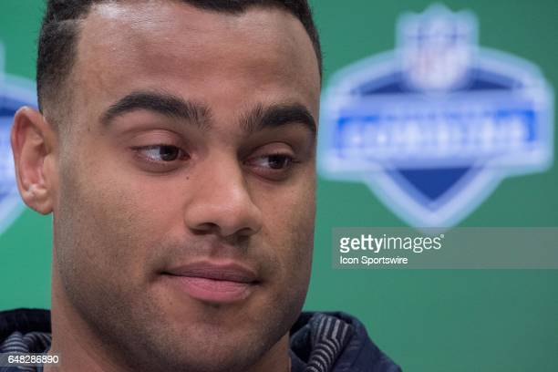 Stanford defensive end Solomon Thomas answers questions from members of the media during the NFL Scouting Combine on March 4 2017 at Lucas Oil...