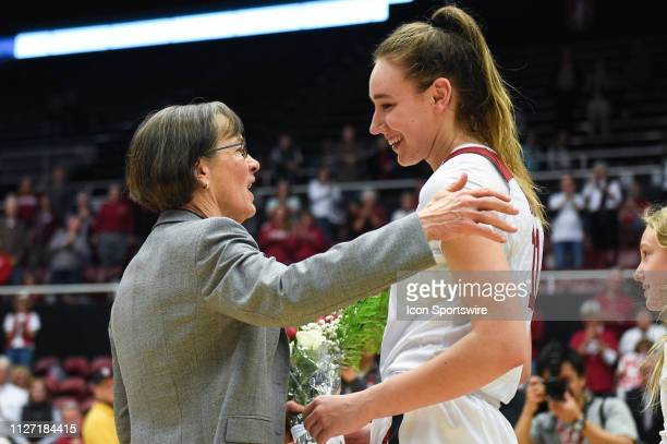 Stanford forward Alanna Smith is honored by her coach The Setsuko Ishiyama Director of Womens Basketball Tara VanDerveer on Senior Day after the...
