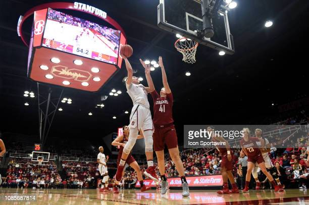 Stanford Forward Alanna Smith shoots over Washington State Forward Jovana Subasic during the women's basketball game between the Washington State...