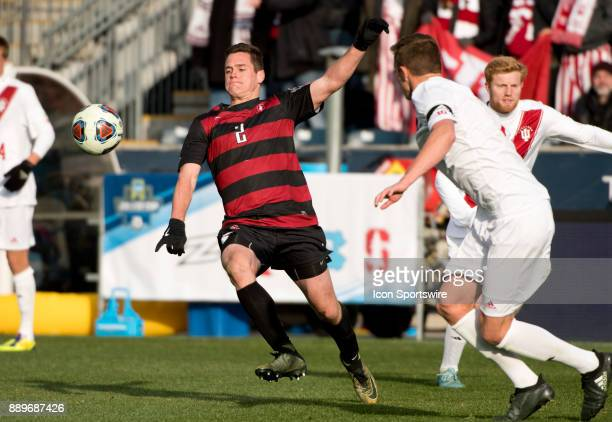 Stanford Forward Foster Langsdorf tries to gain control of the ball in the second half during the College Cup game between The Stanford Cardinal and...