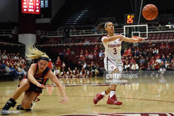 Stanford guard Anna Wilson puts a move on Arizona guard Bryce Nixon causing her to fall during the women's basketball game between the Arizona...