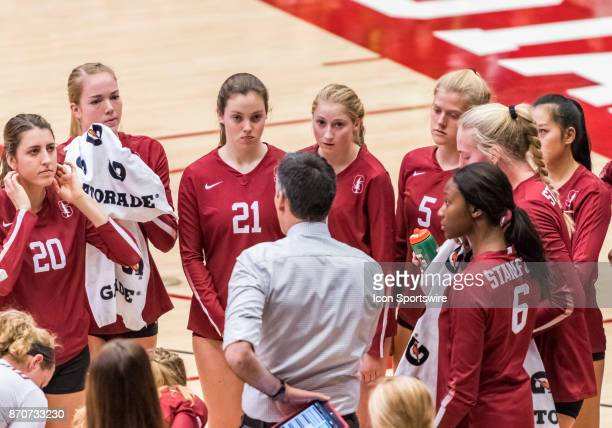 Stanford Head Coach Kevin Hambly meeting with his team at a timeout during the regular season game between the Oregon Ducks verses the Stanford...