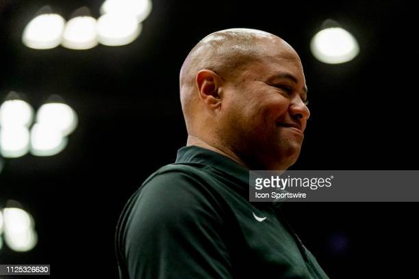 Stanford Head Football Coach David Shaw is honored during the men's college basketball game between the USC Trojans and Stanford Cardinal on February...