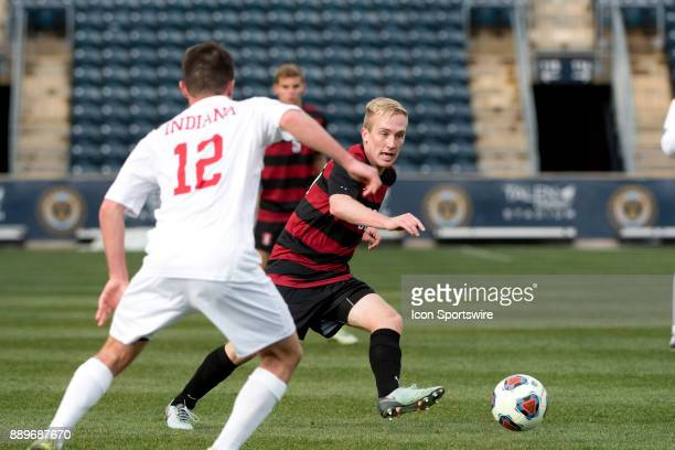 Stanford Midfielder Derek Waldeck makes a pass in the second half during the College Cup game between The Stanford Cardinal and Indiana Hoosiers on...