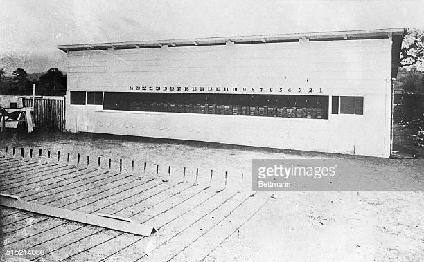 5/20/1929 Stanford Muybridge Memorial Exhibit Photo shows long shed which contained 24 cameras taking first motion picture by Eadward J Muybridge in...