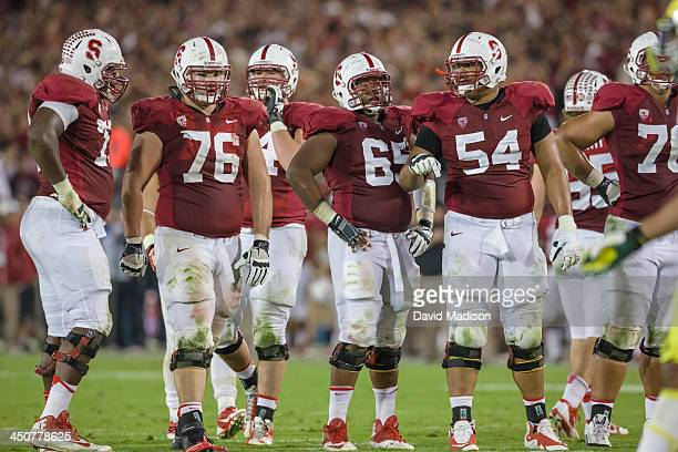 Stanford offensive line players including Cameron Fleming, Kevin Danser, Khalil Wilkes, and David Yankey get ready for a play during a PAC-12 NCAA...