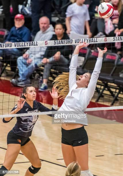 Stanford setter Jenna Gray gets offbalance in a set during the regular season game between the Oregon State Beavers verses the Stanford Cardinals on...