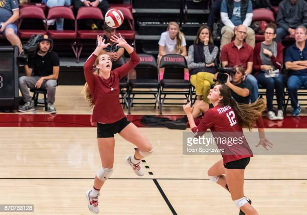 Stanford setter Jenna Gray places the ball for a play while Stanford middle blocker Audriana Fitzmorris runs to position during the regular season...
