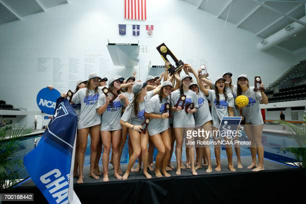 Stanford University celebrates after winning the Division I Women's Water Polo Championship against UCLA held at the IU NatatoriumIUPUI Campus on May...