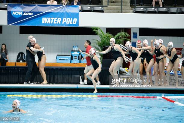 Stanford University celebrates during the Division I Women's Water Polo Championship against UCLA held at the IU NatatoriumIUPUI Campus on May 14...