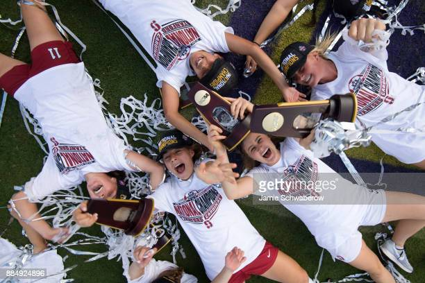 Stanford University celebrates their victory over UCLA during the Division I Women's Soccer Championship held at Orlando City SC Stadium on December...